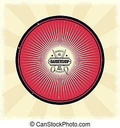 Vector vintage badge, sticker, sign with hairdressing scissors for barbershop