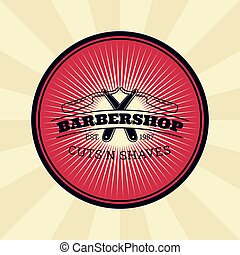 Vector vintage badge, sticker, sign with straight razor for barbershop