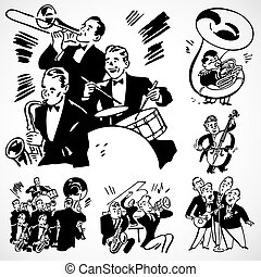 Vintage vector advertising illustrations of musicians.
