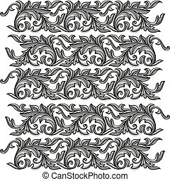 Vector vintage baroque engraving floral ornament seamless pattern.