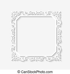 Vector vintage baroque white frame with long shadows. Blank square paper frame with Baroque pattern and retro decorations on gray wall