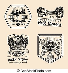Vector vintage biker club signs. Motorcycle repair logos set. Hand sketched garage labels. Custom chopper store emblems.