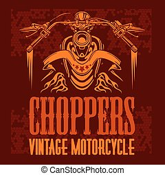 Vector vintage bikers badge. Retro chopper bike elements