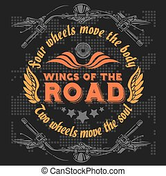 Vector vintage bikers badge. Retro chopper bike elements