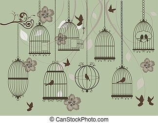 cages - vector vintage bird cages