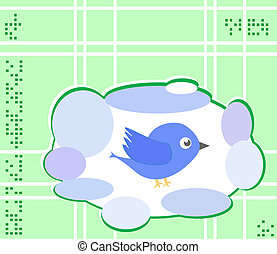 Vector vintage bizarre frame with bird