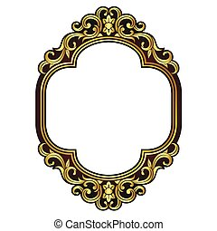 Vector vintage border frame engraving with retro ornament Vector illustration