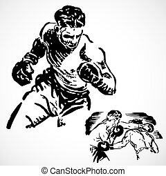 Vintage vector advertising illustration of boxing athletes.