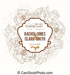Vector Vintage Brown Frame Floral Drawing Wedding Invitation