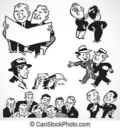 Vector Vintage Businessmen and Salesmen - Vintage vector...