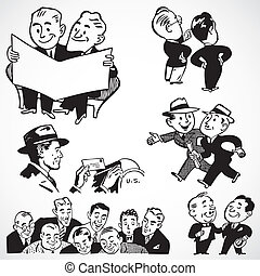 Vintage vector advertising illustrations of happy businessmen.