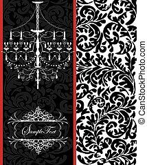 Vector vintage card design with chandelier