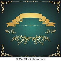 Vector Vintage Card with Golden Hand Sketched Elements