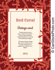 vintage card with red corals
