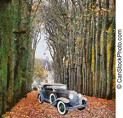 Vector Vintage cars oil painting - Vector Front view of a...