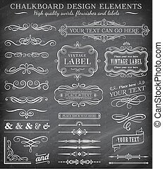 Vector Vintage Chalkboard Labels an - Big collection of...