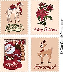 Vector Vintage Christmas Stamps Raindeer Santa Greetings...