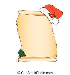 Vector vintage Christmas wish list letter design with cartoon Santa Claus hat illustration.