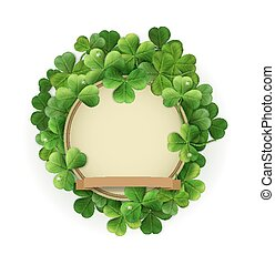 vector vintage circle with space for text in a frame of shamrocks. on a white background (element for design) for the holiday sv.Patrika