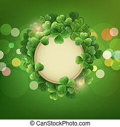 vector Vintage circle with space for text in a frame of shamrocks on green background, the holiday sv.Patrika