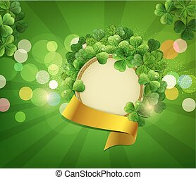 vector Vintage circle with space for text in a frame of shamrocks with gold ribbon, on a green background, the holiday sv.Patrika