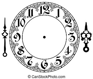 Vector vintage clock on white . Illustration clip art