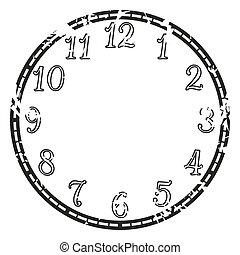 Vector vintage clock - Vector vintage grunge clock on white...