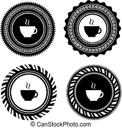 vintage coffee badges and labels
