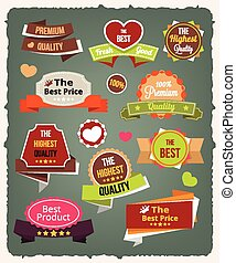 Vector vintage colorful stickers