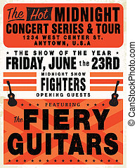 Easy to edit! Clipart retro concert poster. Great for posters and announcements. Vector file is an EPS 10 file. Vector editing features are only available with the EPS file. Watermarks are removed from the image you get after purchasing.
