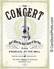 Vector Vintage Concert Poster. Easy to edit with free fonts....