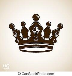 Vector vintage crown, luxury coronet illustration. Royal luxury design element, decorative regal icon. Classic imperial eps8 regalia symbol.