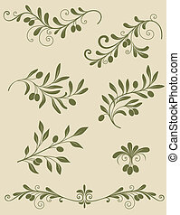Decorative olive branch - Vector vintage Decorative olive...