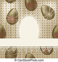vector vintage easter greeting card: white lacy napkin on  seamless pattern with olden eggs and dots