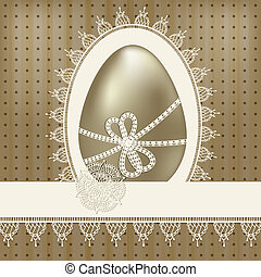 vector vintage easter greeting card with golden egg and lacy napkin
