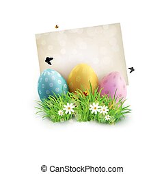 Vector vintage element for design. Easter eggs in green grass with white flowers, butterflies, vintage card for congratulation, isolated on white background