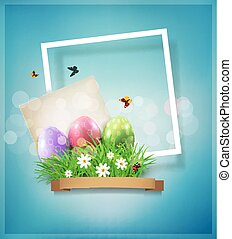 Vector vintage element for design. Easter eggs in green grass with white flowers, butterflies, vintage card for congratulation and frame on a blue background