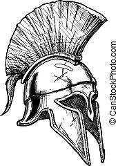 Corinthian helmet - Vector vintage engraved illustration of...