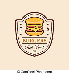 Vector vintage fast food logo. Burge sign. Bistro icon. Eatery emblem for street restaurant, cafe, bar menu design.