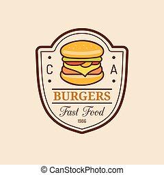 Vector vintage fast food logo. Burge sign. Bistro icon. Eatery emblem for street restaurant, cafe, bar menu design.