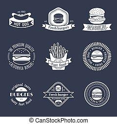 Vector vintage fast food logo set. Retro eating signs collection. Burger, hamburger, hot dog, frankfurter emblems.