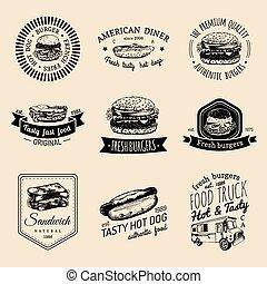 Vector vintage fast food logo set. Retro quick meal signs...