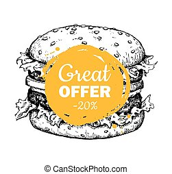 Vector vintage fast food special offer. Hand drawn monochrome ju