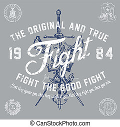 Vector Vintage Fight Graphic. Easy to edit. All layers are...