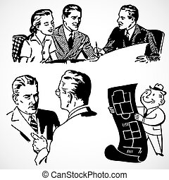 Vintage vector advertising illustrations of financial advisors.