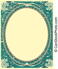 Vector vintage floral background with decor frame for text