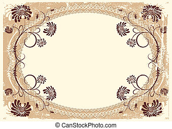 Vector vintage floral background with old decor frame for text