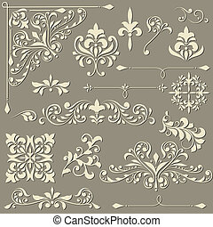 vector vintage floral design elements on gradient background...
