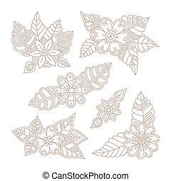 Vector vintage floral design elements set in mono line style