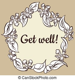 Vector vintage floral get well card